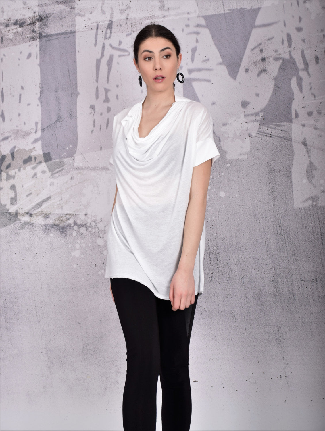 Tunic, Asymmetric white top with short sleeves, loose top, loose tunic, open back tshirt, off shoulder blouse by UrbanMood - UM-105-CO