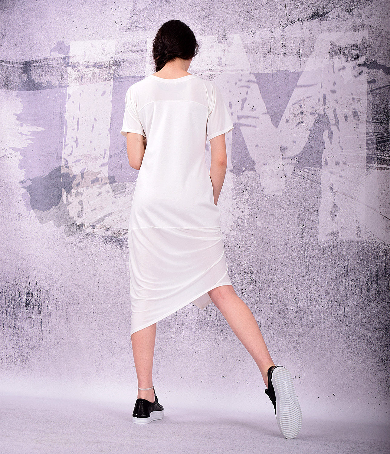 Midi dress, loose dress, tunic dress, summer dress, short sleeved dress, white dress, white midi dress, simple dress by urbanmood -UM-128-PU