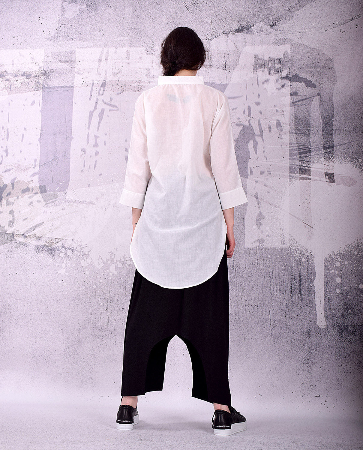 White Shirt, White blouse, Cotton blouse, asymmetric blouse, cotton shirt, 3/4 sleeves shirt, white tunic by UrbanMood - UM-136-CO