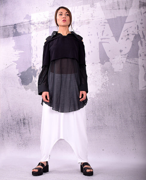 Black Shirt,Black blouse,Cotton top,Asymmetric Blouse,Black cotton shirt,Black tunic,UM137CO
