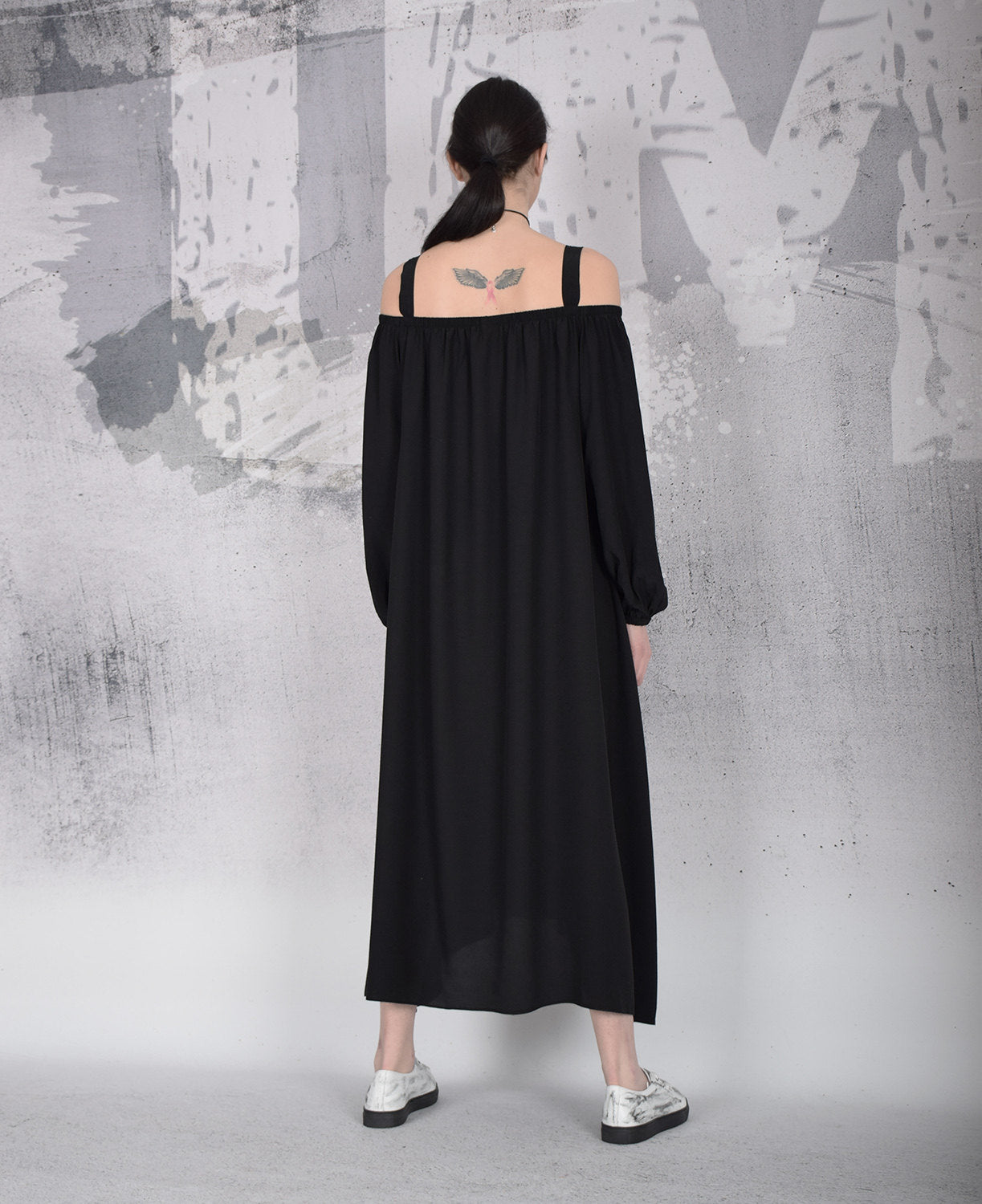 Black Maxi Dress, Long loose dress, Bare shoulders dress, Long sleeved dress, Sleeveless dress by UrbanMood - UM-100-VC