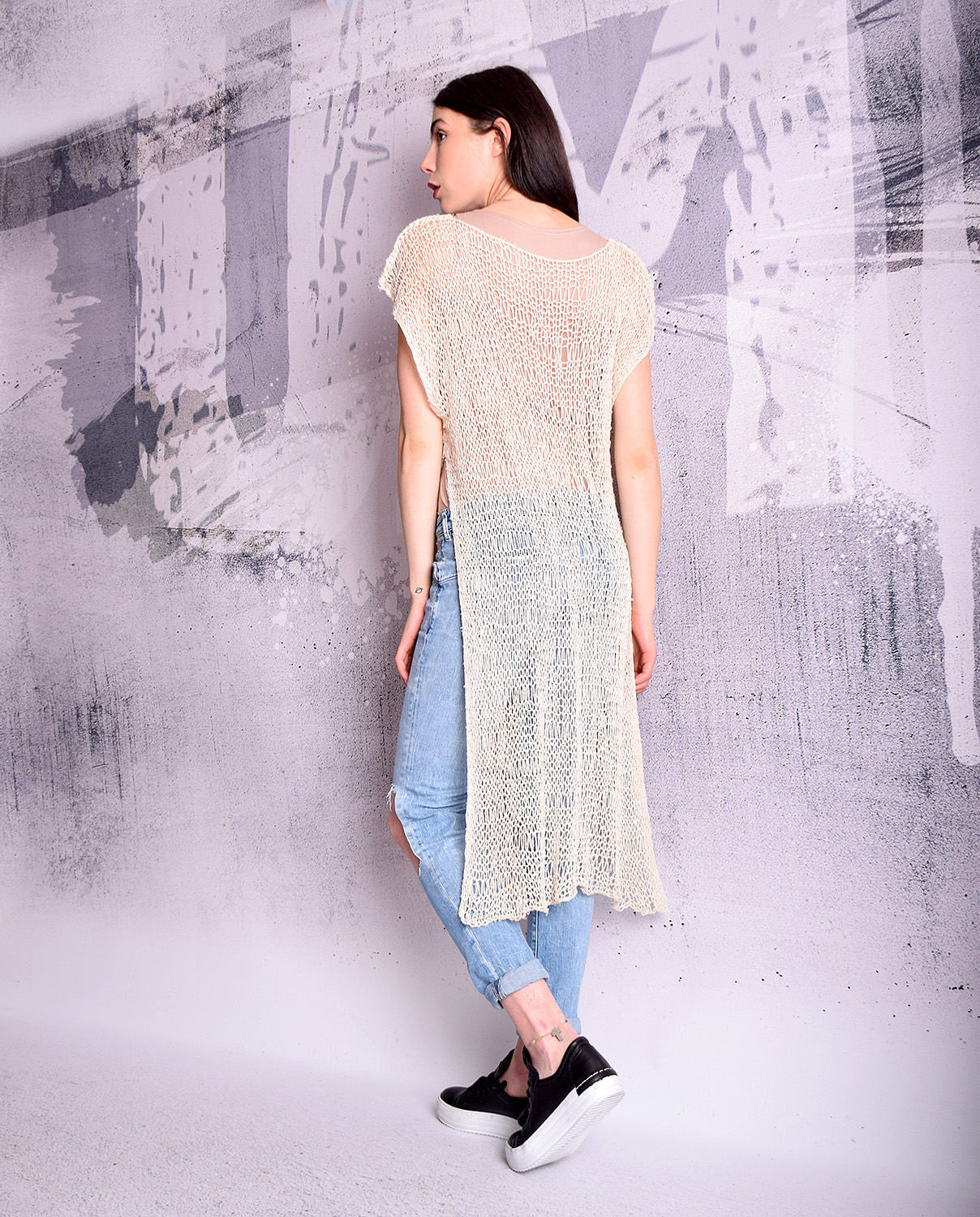Hand knit mesh top,  asymmetric top, sheer top, sheer vest, long sleeveless top, wrap top, shrug, hand knit tunic by UrbanMood - UM-K112-RS
