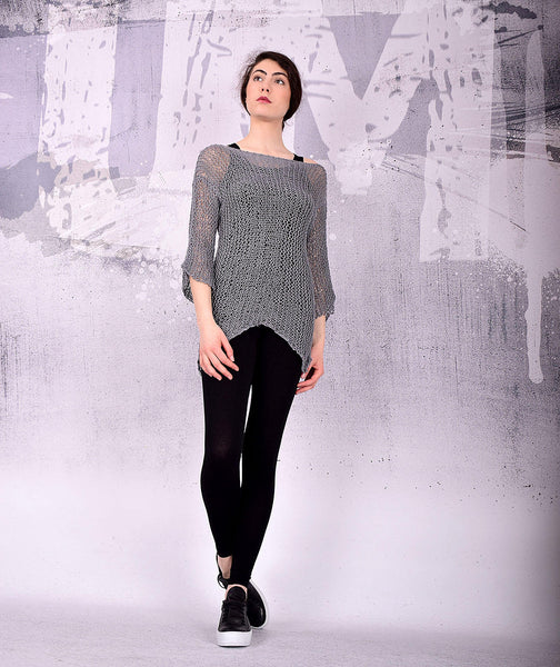 Hand knit top, hand knit sweater, gray tunic, gray knit top, long sleeves top, shrug,asymmetric knit top hand knit by UrbanMood -UM-K108-PT