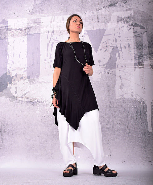 Tunic, Asymmetrical Tunic, Plus Size Tunic, Oversized Tunic, Black Tunic Top, Loose Tunic, Short Sleeves Top by UrbanMood - UM-142-VL