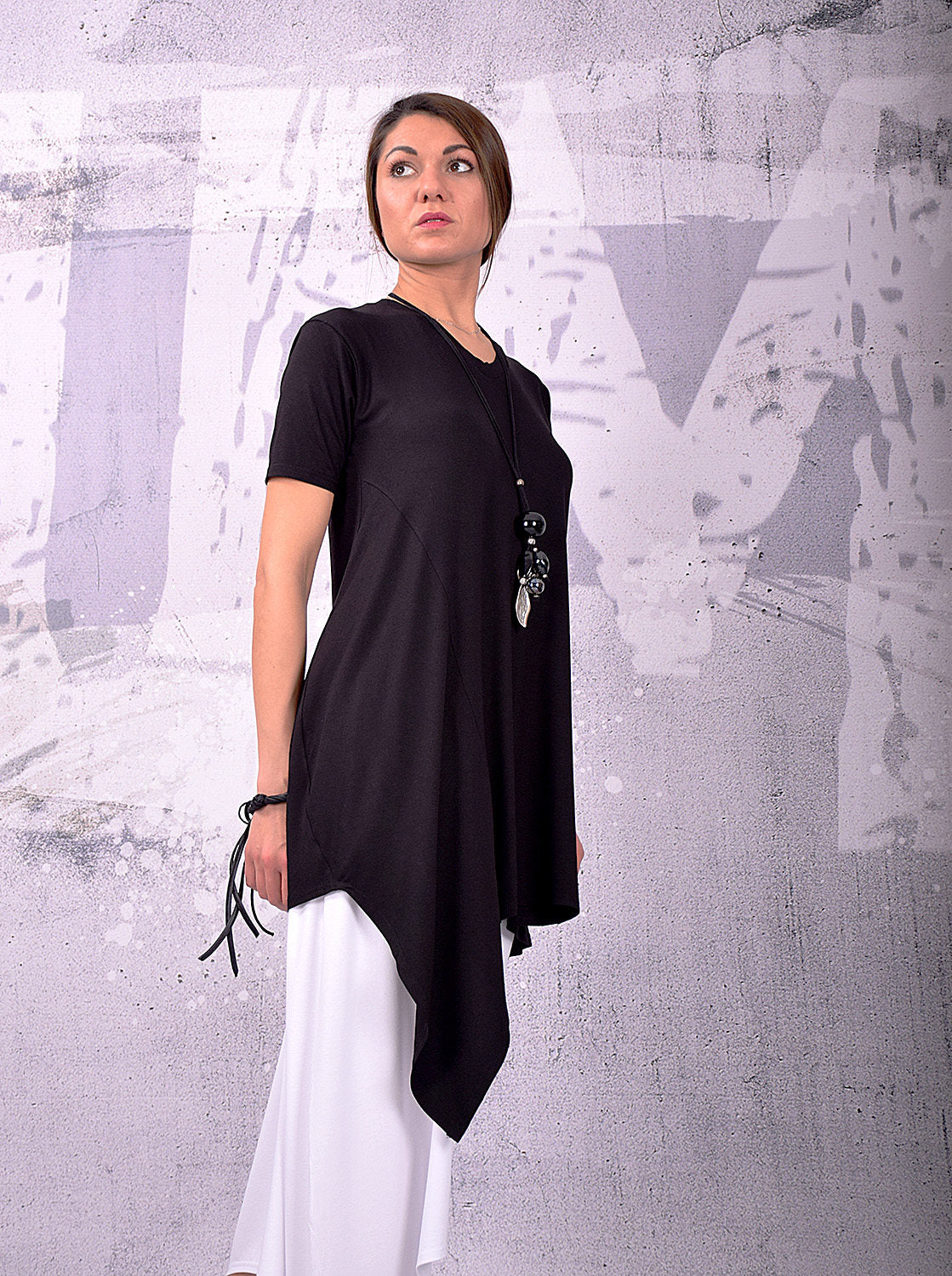 Tunic, Asymmetrical Tunic, Plus Size Tunic, Oversized Tunic, Black Tunic Top, Loose Tunic, Short Sleeves Top by UrbanMood - UM-144-VL