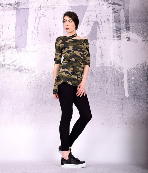 Military T shirt, Camouflage T shirt  , Bare shoulder top, Short sleeves top, Extravagant top, Military green by UrbanMood - UM-163-CO