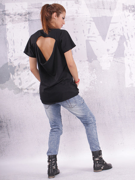 Simple black top, t shirt, blouse, with very short sleeves and open back - UM-F001-FL