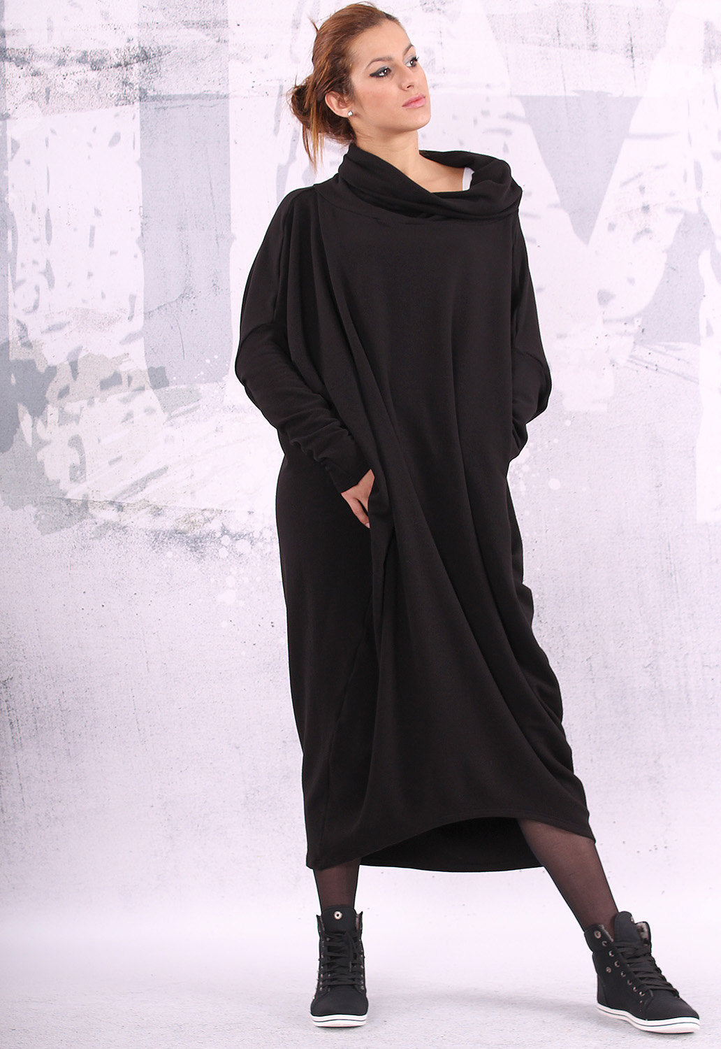Black extravagant asymmetrical tunic dress, plus size tunic, oversize dress, long sleeved dress,  - UM-QC001-QC