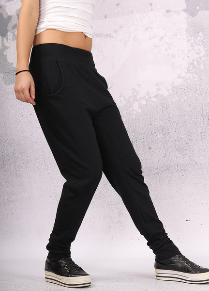 Black long loose pants with two pockets,UMC003VL