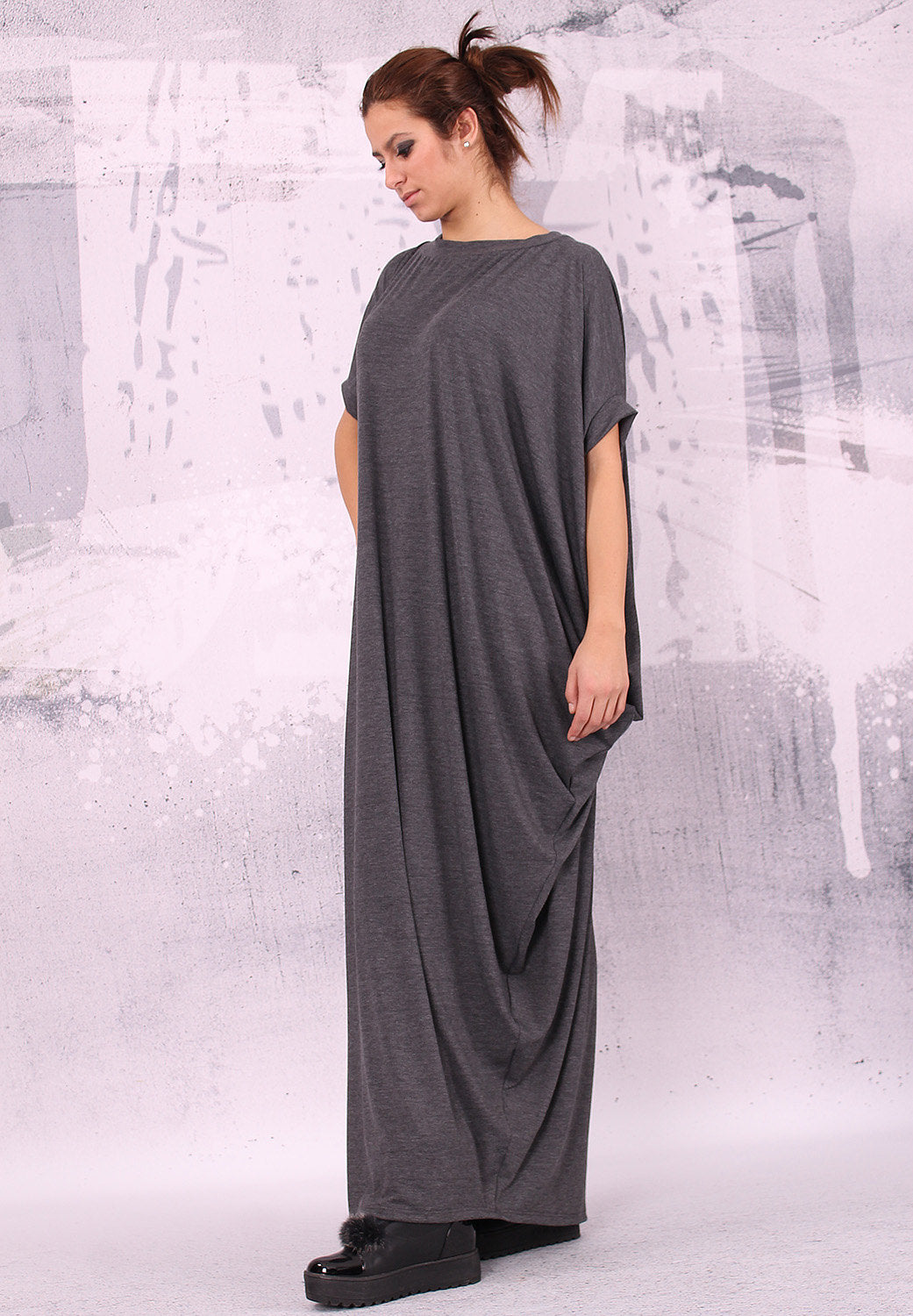 Gray dress/ extravagant dress/ loose long dress/ asymmetrical dress/ plus size tunic, oversize maxi dress/ loose dress - UM-012-VL