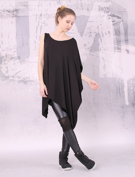 Asymmetrical black tunic top with one sleeve,loose tunic,UM023VL