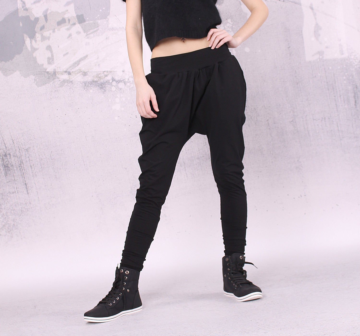 Black long loose pants with two pockets,extravagant pants,UM025CL