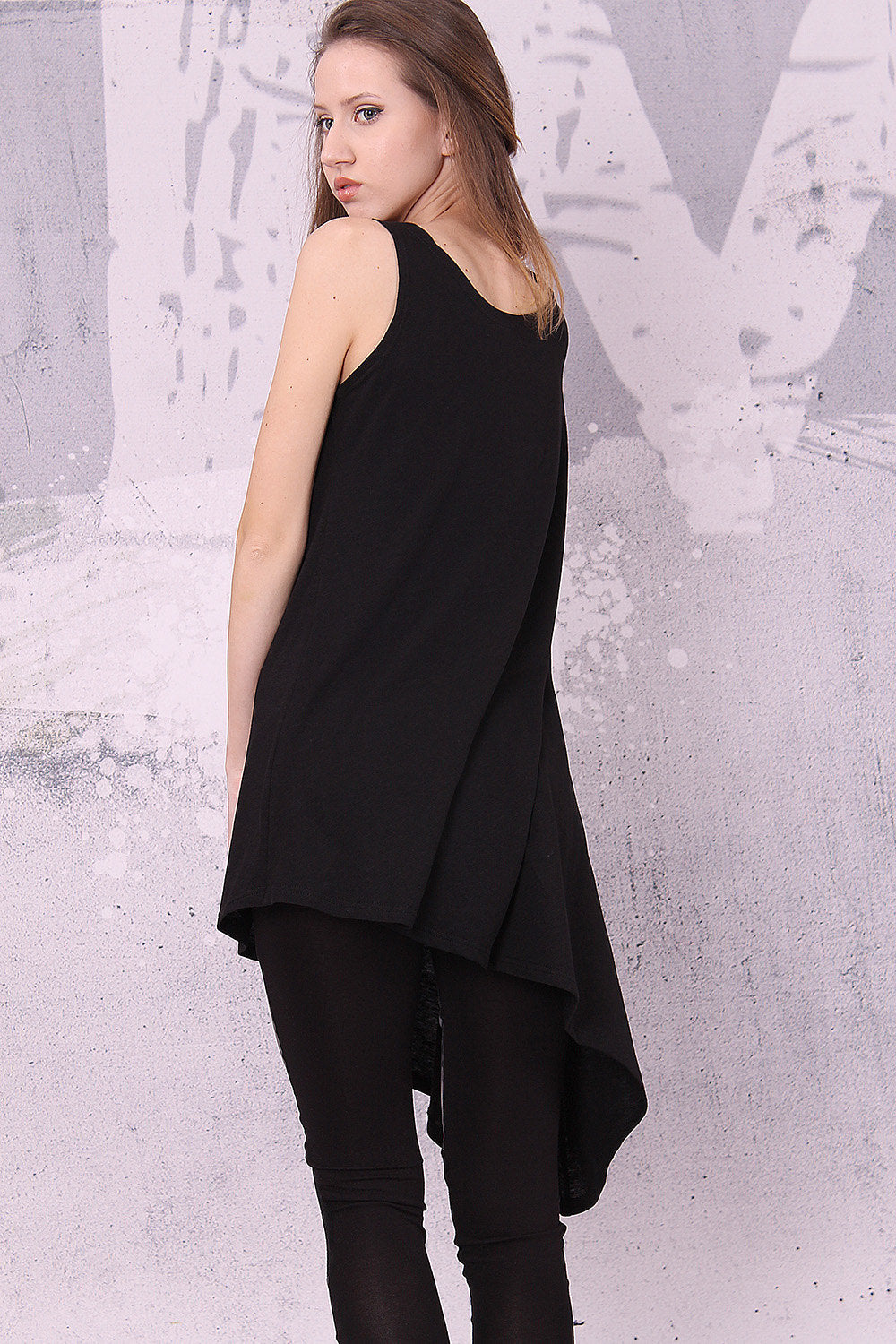 Asymmetrical black tunic top with one short sleeve, loose tunic, tank top - UM-021-FL