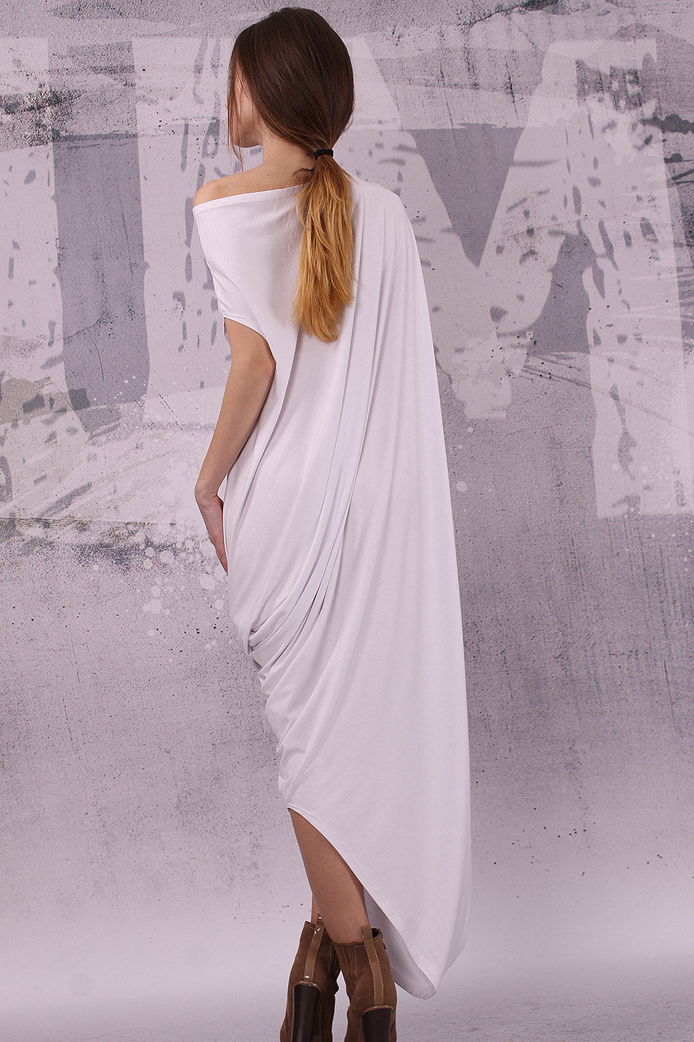 White loose maxi dress with very short sleeves, plus size dress, oversized tunic dress, long tunic dress,  - UM-028-VL