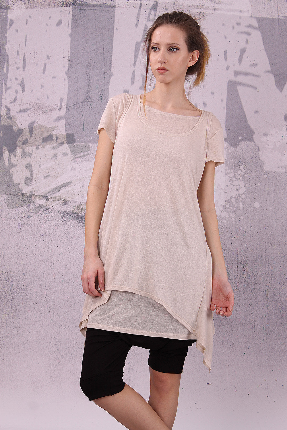 Loose Tunic, Asymmetric beige tunic, Set of TWO pcs, loose top, tank top, Long top, Long tunic, short sleeves, Asymmetric top - UM-032-CO