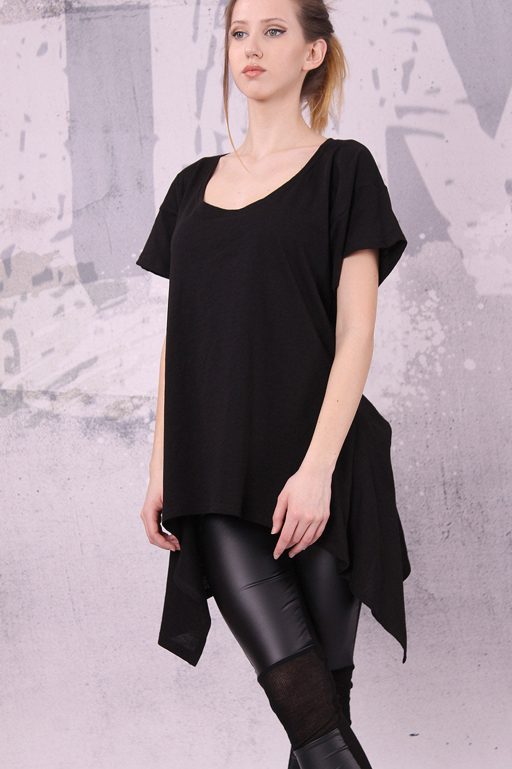 Asymmetric top, Black tunic top,  short sleeves top, loose tunic, tunic top, loose top, urban top, black tank, tank, top - UM-034-VL