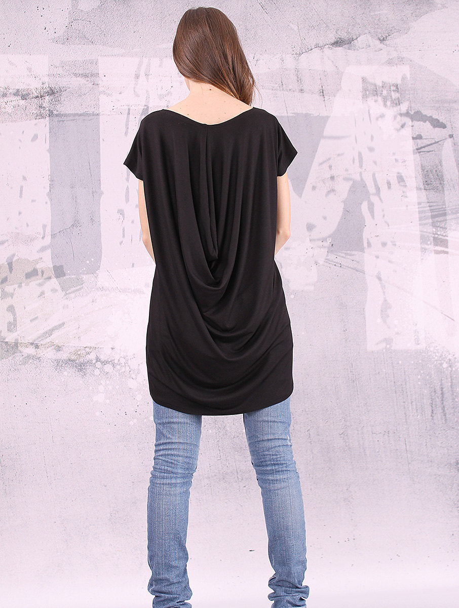 Extravagant top/ black top, loose tunic, short sleeved top/ tunic plus size - UM-039-VL