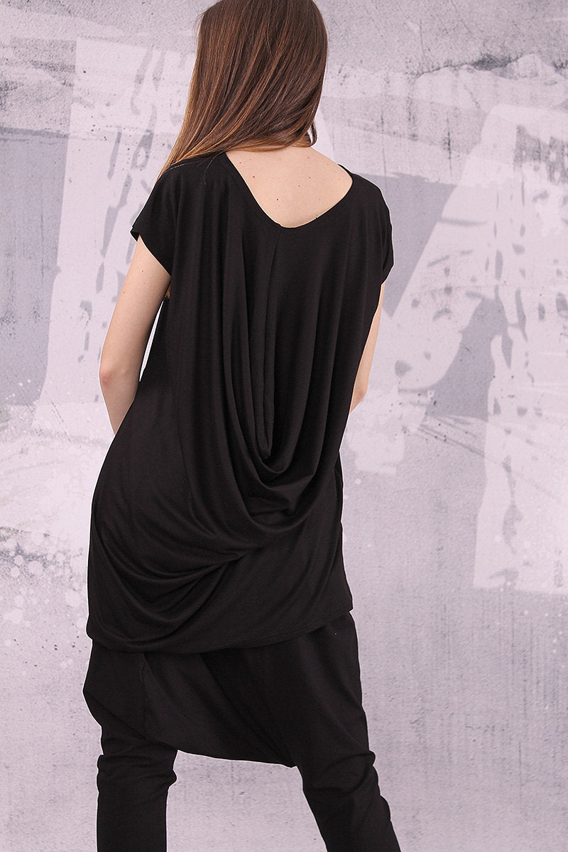 Extravagant black top, loose tunic, short sleeved top - UM-039-VL