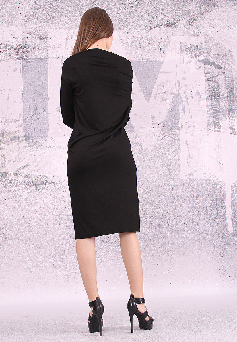 Black Dress, Black Midi Dress, Black knee lenght dress, Slim Fit, Tight Dress, Minimalist Dress, Pencil Dress, Cocktail Dress - UM-035-VL