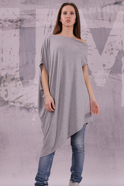 Asymmetrical gray tunic top with short sleeves,loose tunic,UM041VL