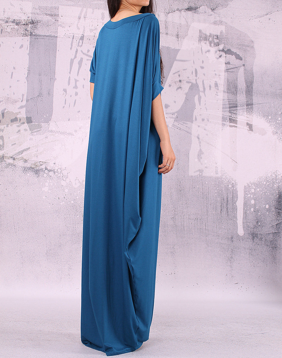 Blue extravagant loose long asymmetrical dress/ plus size tunic,UM012VL