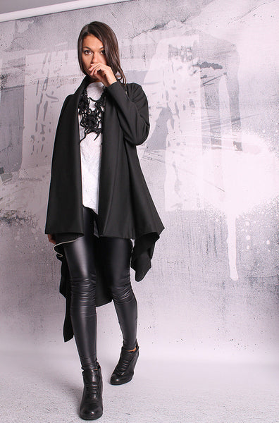 Extravagant black coat,asymmetric jacket,woman coat,black vest,black blazer,UM048PU