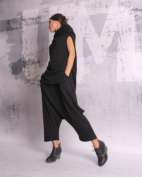Black long pants,loose oriental pants,extravagant pants,harem pants,trousers,loose pants,UM055QC
