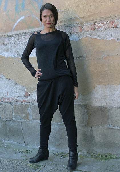 NEW,Black long asymmetrical loose pants with two pockets,extravagant pants,UM060VL