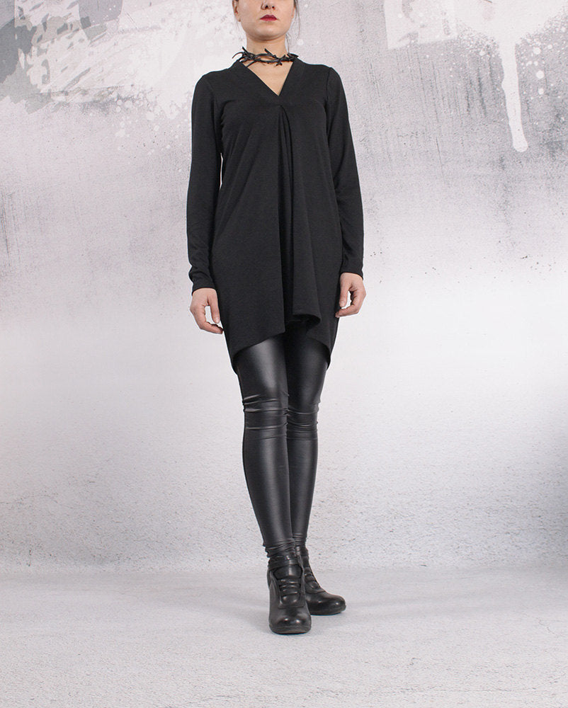 Tunic, Black top, asymmetric tunic dress, plus size tunic, oversized top, long sleeved tunic by UrbanMood - FL-PENI-CO