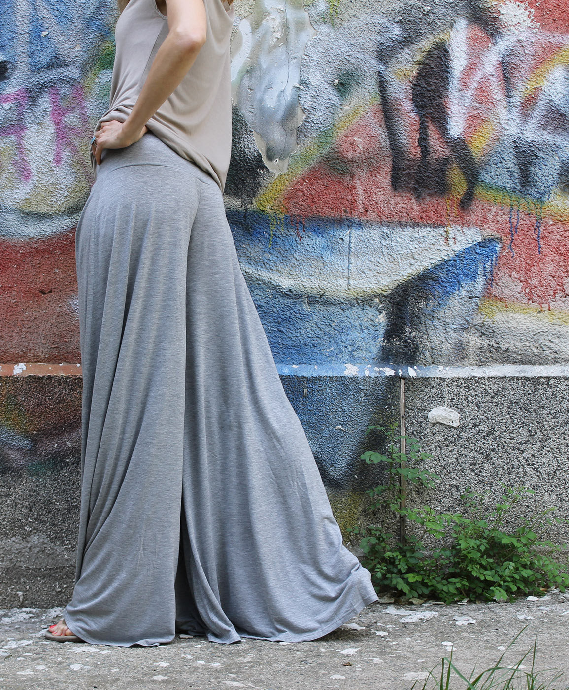 Pants,Gray pants,wide skirt pants,COANNYVL