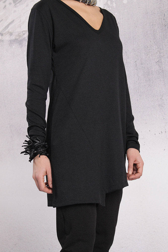 Tunic, Black top, Extravagant tunic, Asymmetric tunic, Plus size tunic by UrbanMood - FP-LENI-VL