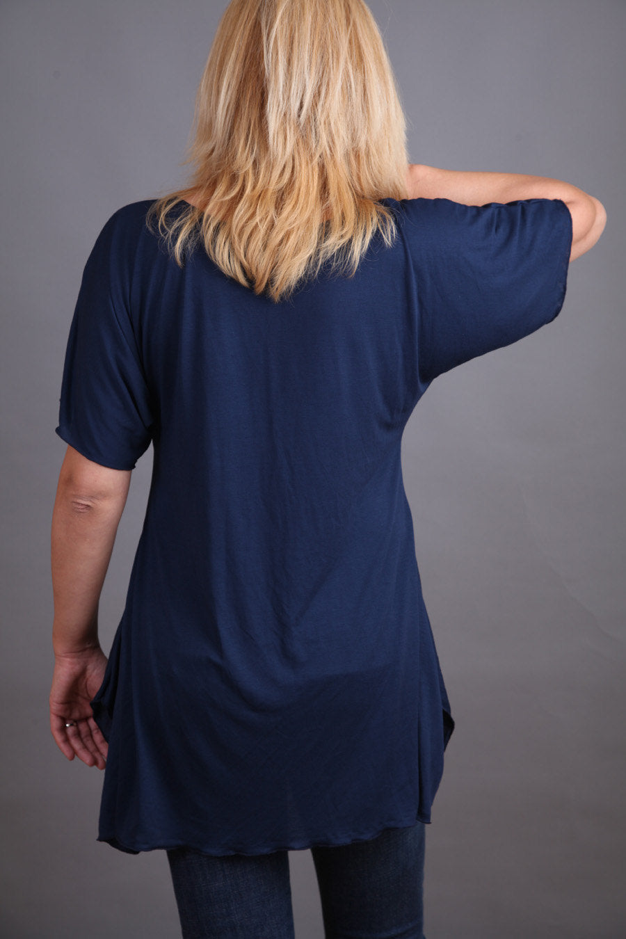 Tunic, Long tunic with short sleeves, Dark blue tunic by FancyProject - CO-HANA-VL