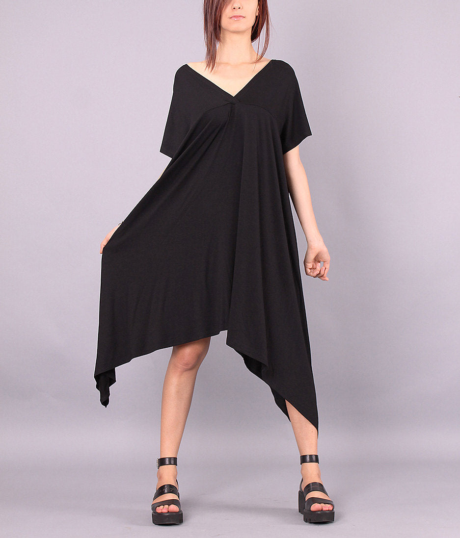 Maxi Dress,Maternity over sized dress,Wide black dress,V neckline on front and back,COJANYVL
