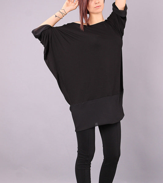Top, Simple black shirt, short sleeves top, oval neckline blouse, long tunic by UrbanMood - CO-TANA-VL