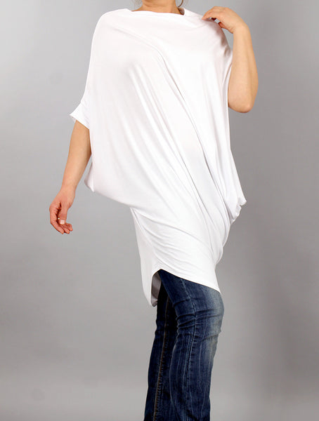 Tunic, Asymmetrical white short sleeved tunic top, loose dress, loose tunic, oversized tshirt by UrbanMood - CO-NOLA-VL