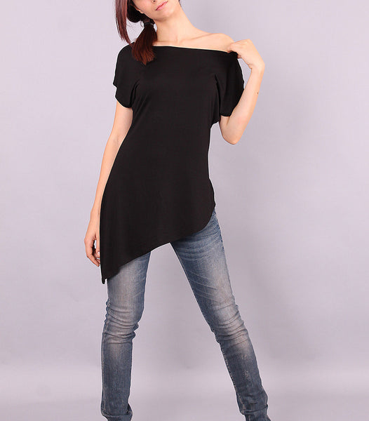 Tunic, Asymmetric black top with short sleeves, loose top, loose tunic, oversized tshirt, off shoulder blouse by UrbanMood - CO-MIYA-VL