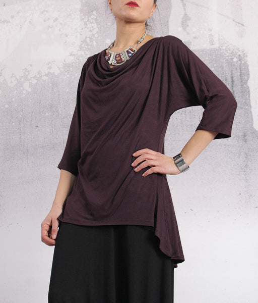 Tunic, Red Wine top, loose blouse, asymmetric Greek neckline, loose tunic, oversized tshirt by UrbanMood - FP-VERA-VL