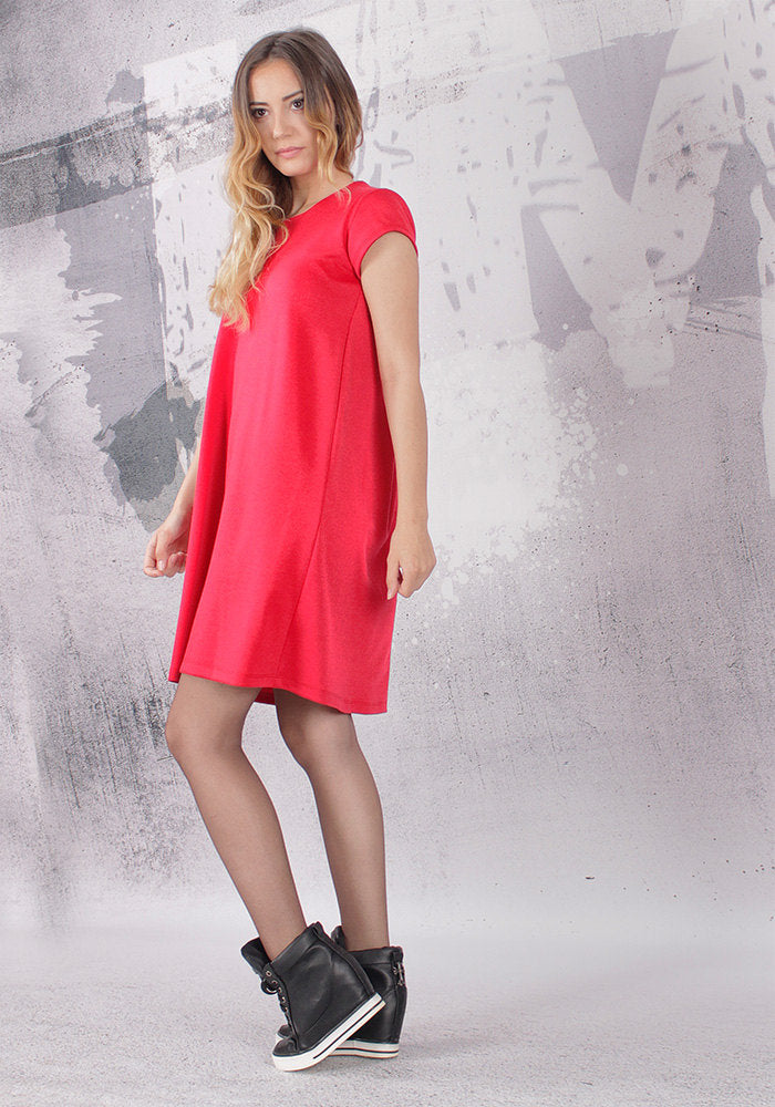 A line dress, loose tunic, maternity dress, tunic dress, short sleeved dress, red tunic, red dress - FP-KARA-PU