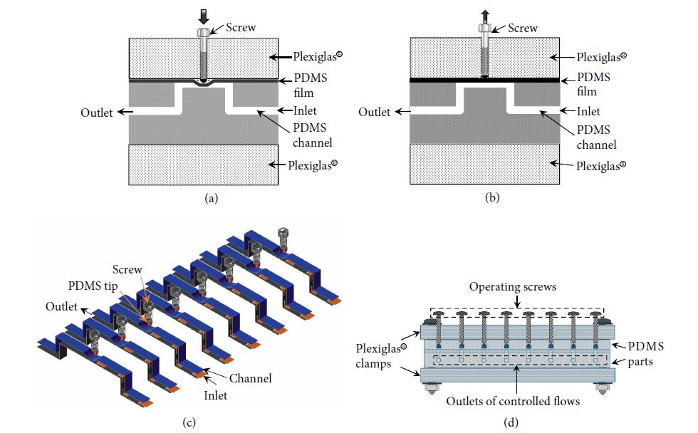 Design of the multi-valve system for controlling the inlet flows into microfluidic system