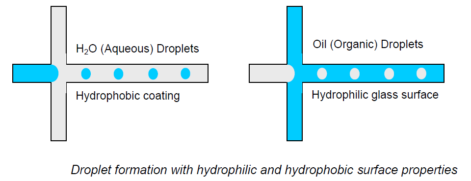 Droplet formation with hydrophilic and hydrophobic surface properties