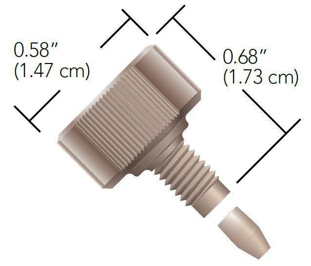 """Fingertight Double-Wing 10-32 Coned Fitting for 1/16"""" OD Tubing dimensions"""