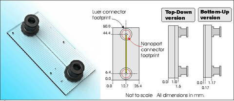 Microfluidic single straight channel chip - Fused Silica Glass - Top Down