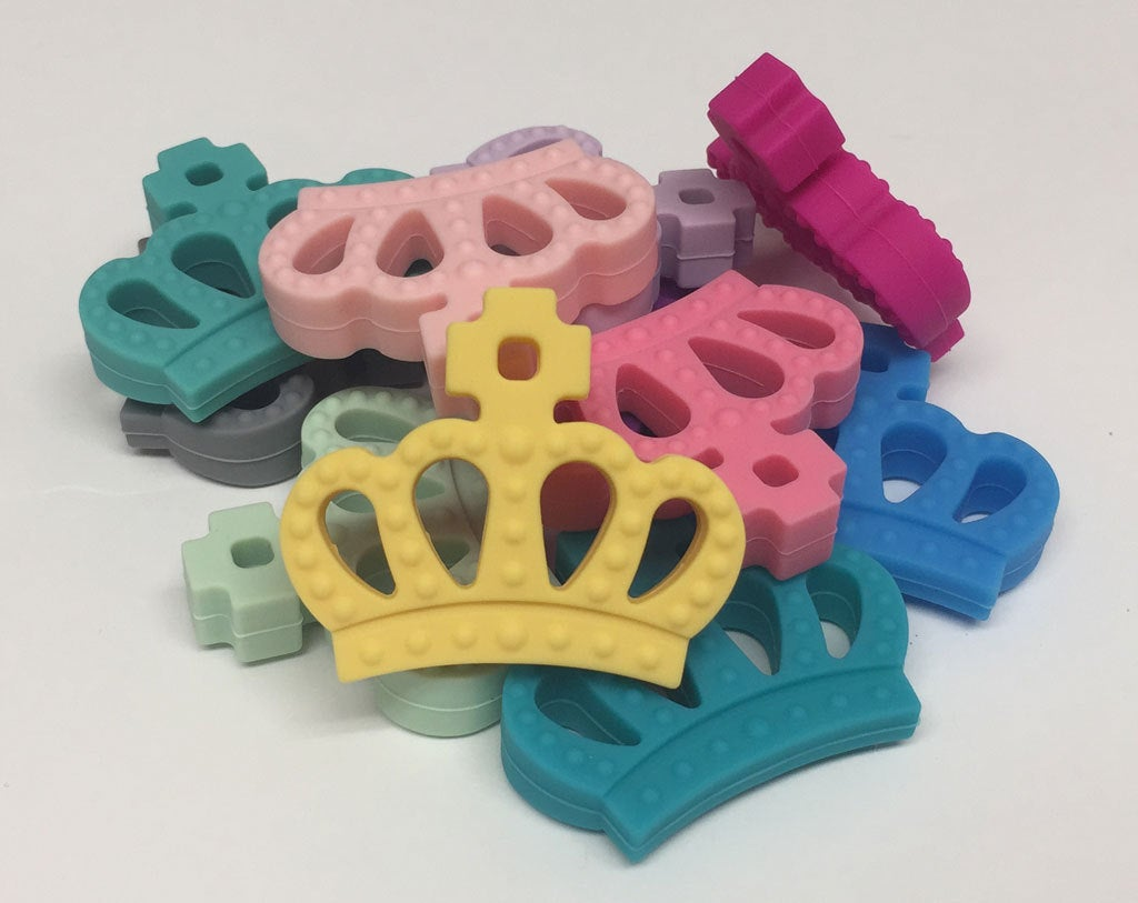 Silicone Crown Teether in Peacock - Silicone Teething, Silicone Teether, Teething Pendant