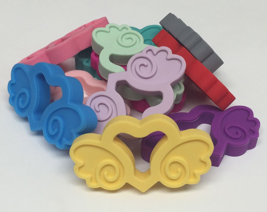 Silicone Heart with Wings Teether in Mauve - Silicone Teething, Silicone Teether, Teething Pendant