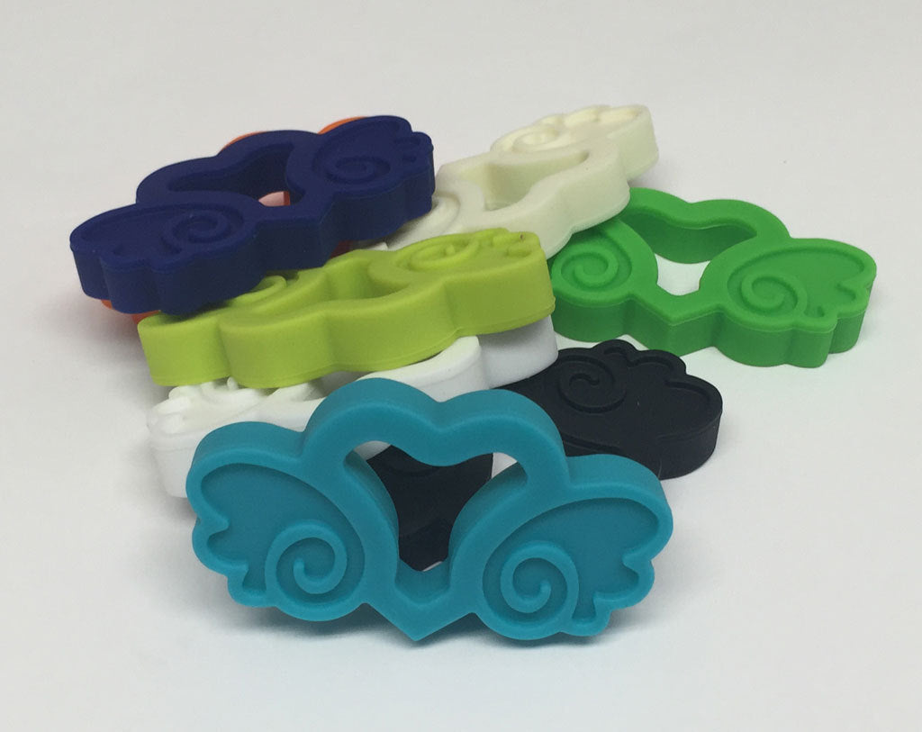 Silicone Heart with Wings Teether in Navy - Silicone Teething, Silicone Teether, Teething Pendant