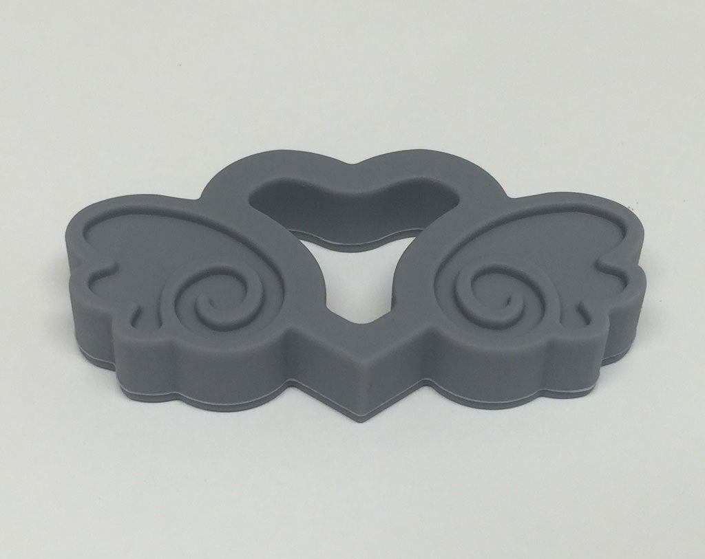 Silicone Heart with Wings Teether in Grey - Silicone Teething, Silicone Teether, Teething Pendant