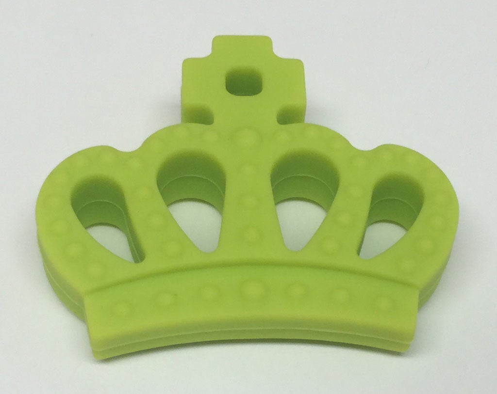 Silicone Crown Teether in Chartreuse - Silicone Teething, Silicone Teether, Teething Pendant