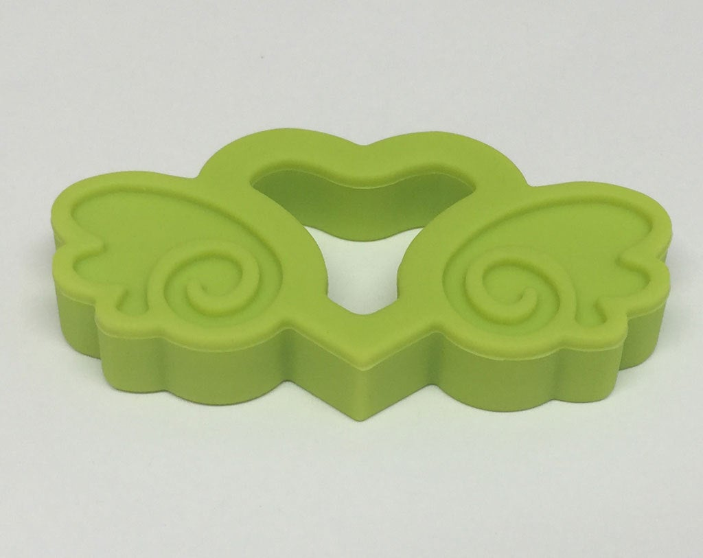 Silicone Heart with Wings Teether in Chartreuse - Silicone Teething, Silicone Teether, Teething Pendant