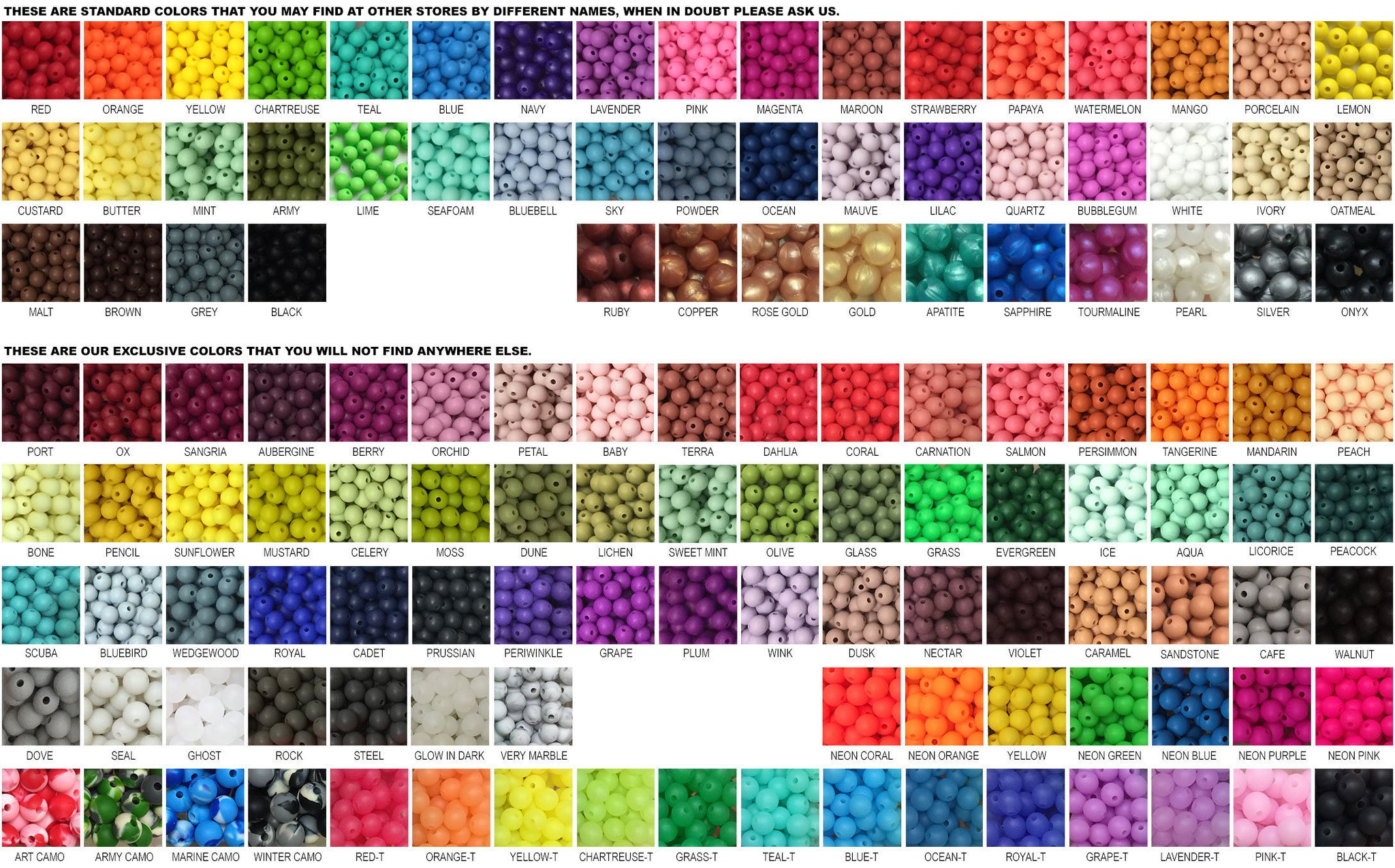 Silicone Bead Color Swatch Sampler in all of our colors - Sample Cord - Sample Strand - Color Strand - Color Cord - Bead Key - Color Key