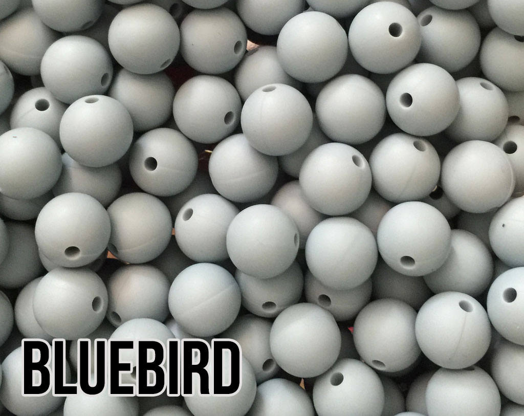 9 mm Round Bluebird Silicone Beads (aka Light Blue, Pastel Blue)